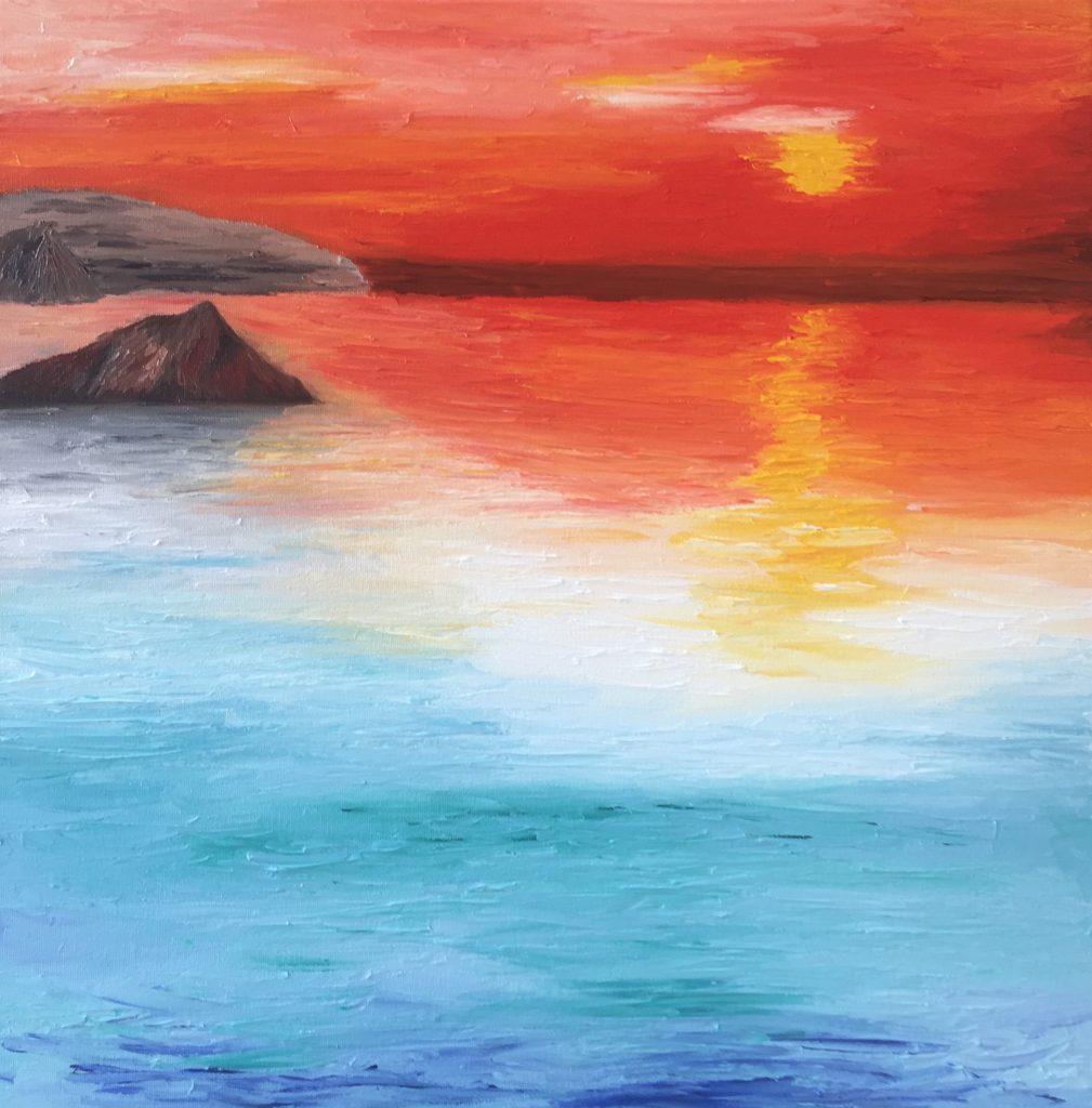 Een serene tropische zonsondergang