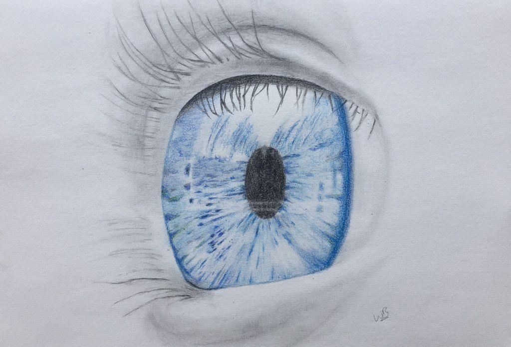 Blauw baby oog ontdekt de wereld