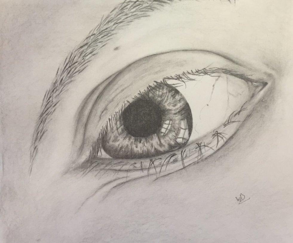 Mijn eigen oog getekend met potlood